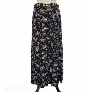 Vintage Studio Floral Button Front Maxi Skirt Blue